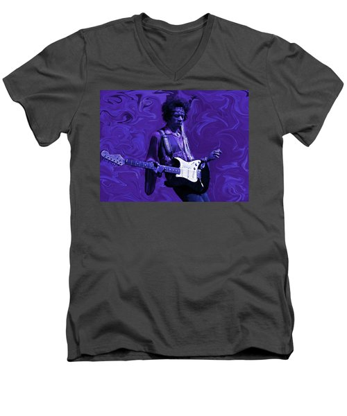 Jimi Hendrix Purple Haze Men's V-Neck T-Shirt by David Dehner
