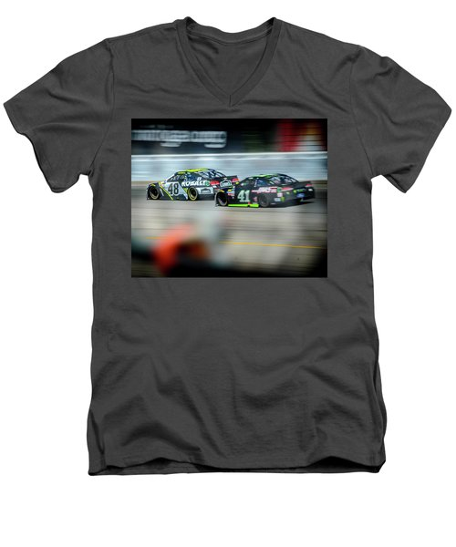 Jimmie Johnson Charging Ahead At Mis Men's V-Neck T-Shirt