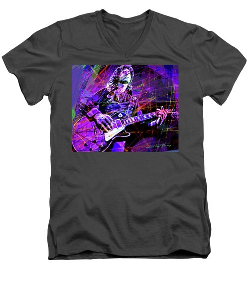 Jimmy Page Solos Men's V-Neck T-Shirt by David Lloyd Glover