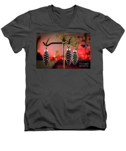 Jingle Pinecones Men's V-Neck T-Shirt