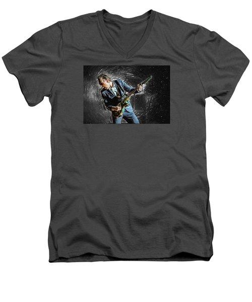 Joe Bonamassa Men's V-Neck T-Shirt by Taylan Apukovska