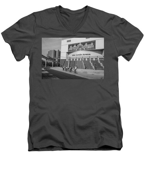Joe Louis Arena Black And White With Bikers Men's V-Neck T-Shirt