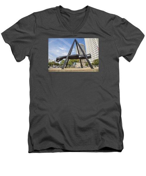 Joe Louis Fist In Detroit In Color  Men's V-Neck T-Shirt by John McGraw