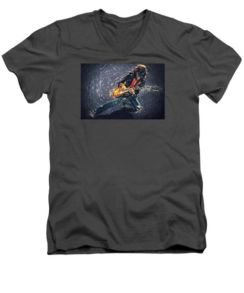 Joe Perry Men's V-Neck T-Shirt by Taylan Apukovska