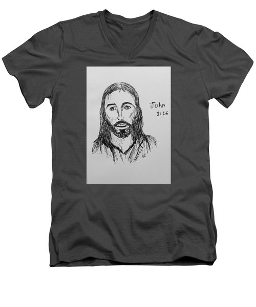 Men's V-Neck T-Shirt featuring the drawing John 3 16 by Victoria Lakes