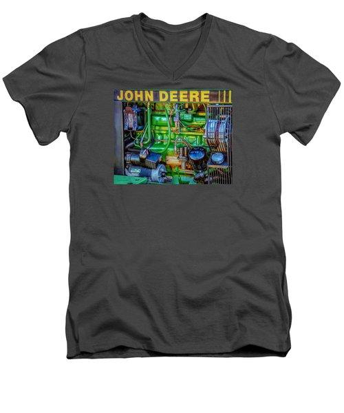 Men's V-Neck T-Shirt featuring the photograph John Deere Engine by Trey Foerster
