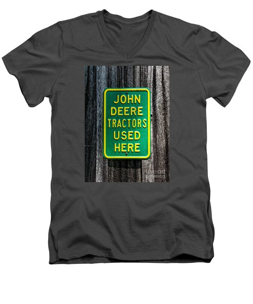 Men's V-Neck T-Shirt featuring the photograph John Deere Used Here by Paul Mashburn