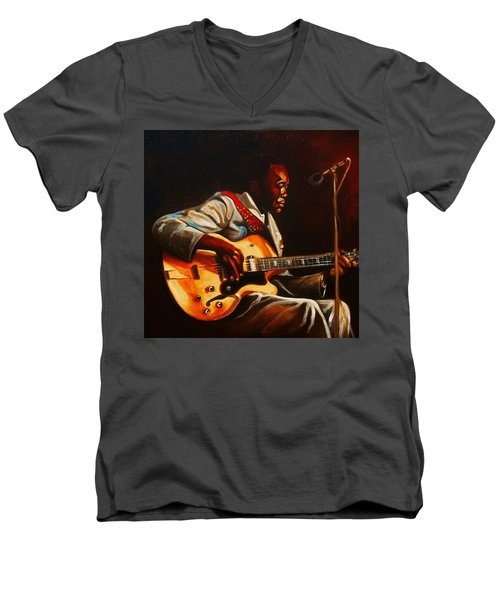 Men's V-Neck T-Shirt featuring the painting John Lee by Emery Franklin