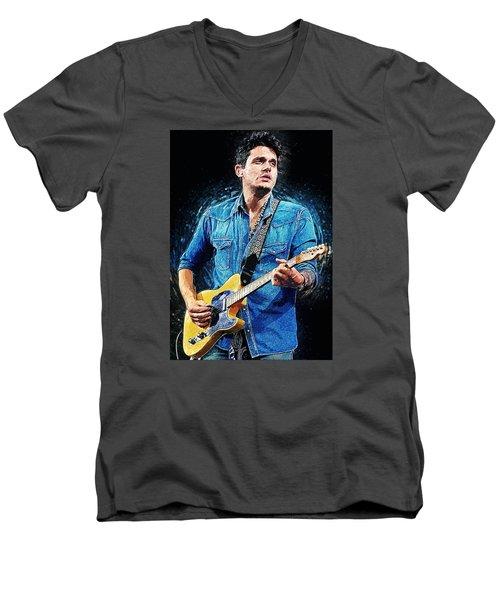 John Mayer Men's V-Neck T-Shirt by Taylan Apukovska