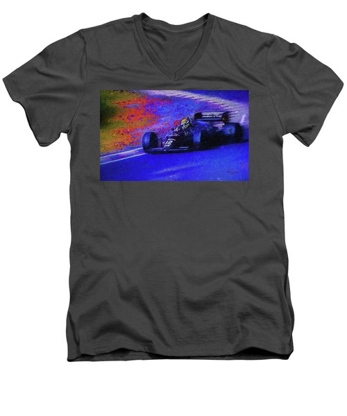 Men's V-Neck T-Shirt featuring the mixed media John Player Special by Marvin Spates