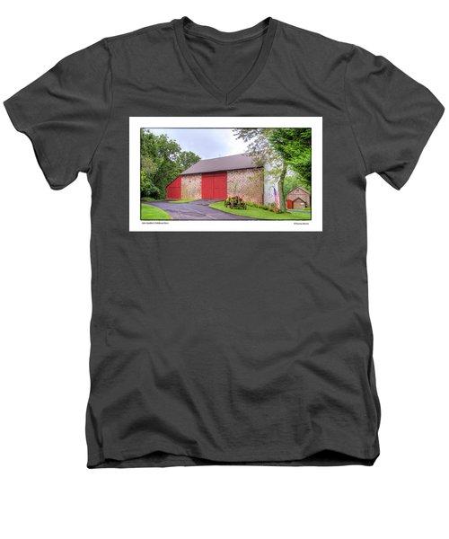 Men's V-Neck T-Shirt featuring the photograph John Updike's Childhood Barn by R Thomas Berner