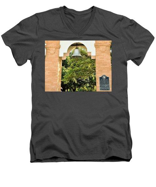 Men's V-Neck T-Shirt featuring the photograph John Wheeler Bunton Historic Memorial by Ray Shrewsberry