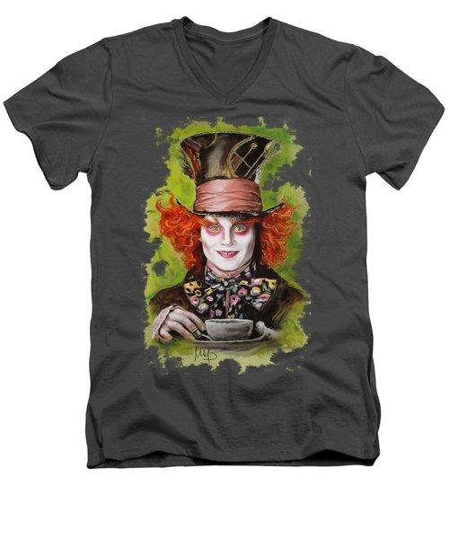 Johnny Depp As Mad Hatter Men's V-Neck T-Shirt by Melanie D
