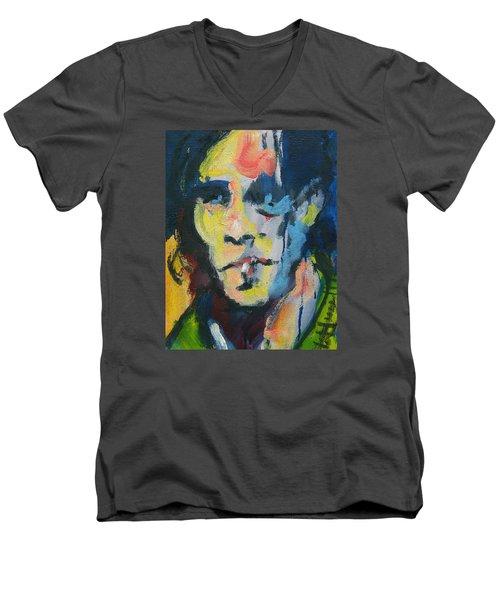 Johnny Men's V-Neck T-Shirt by Les Leffingwell