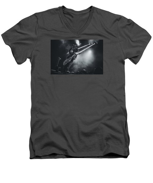 Johnny Marr Playing Live Men's V-Neck T-Shirt by Marco Oliveira