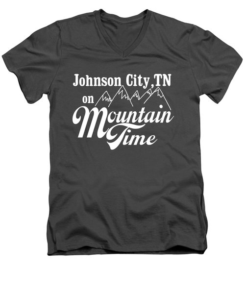 Men's V-Neck T-Shirt featuring the digital art Johnson City Tn On Mountain Time by Heather Applegate