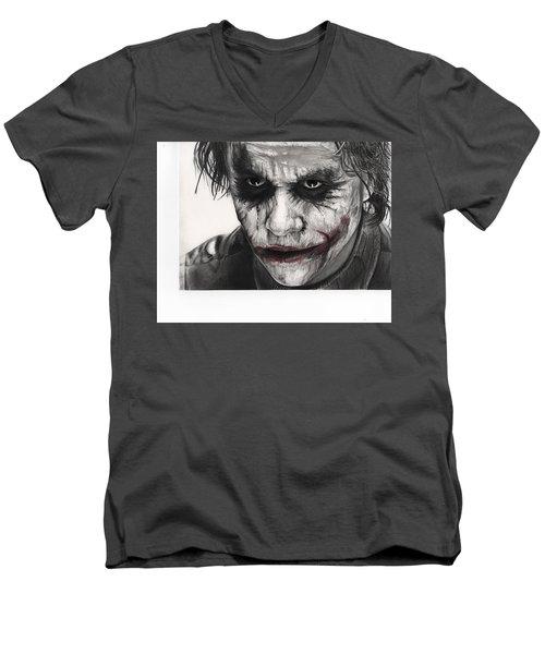 Joker Face Men's V-Neck T-Shirt by James Holko