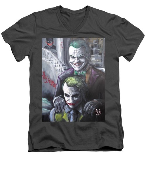 Jokery In Wayne Manor Men's V-Neck T-Shirt by Tyler Haddox
