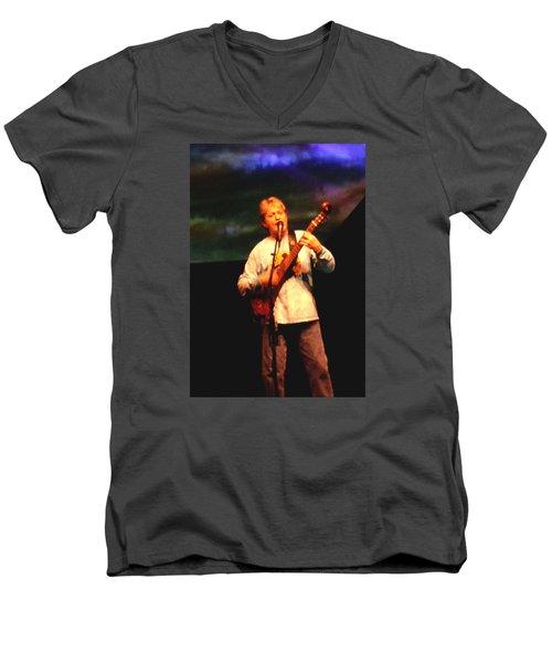 Jon Anderson Of Yes Men's V-Neck T-Shirt by Melinda Saminski