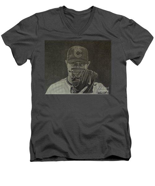 Men's V-Neck T-Shirt featuring the drawing Jon Lester Portrait by Melissa Goodrich