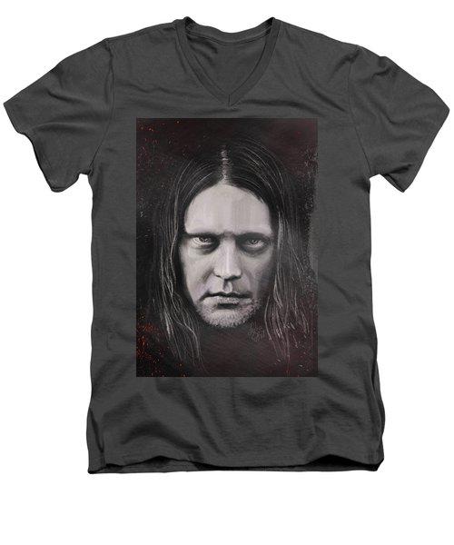 Men's V-Neck T-Shirt featuring the drawing Jonas P Renkse Musician From Katatonia Band By Julia Art by Julia Art