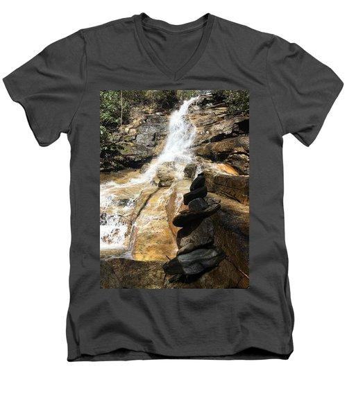 Jones Gap Falls  Men's V-Neck T-Shirt by Kelly Hazel