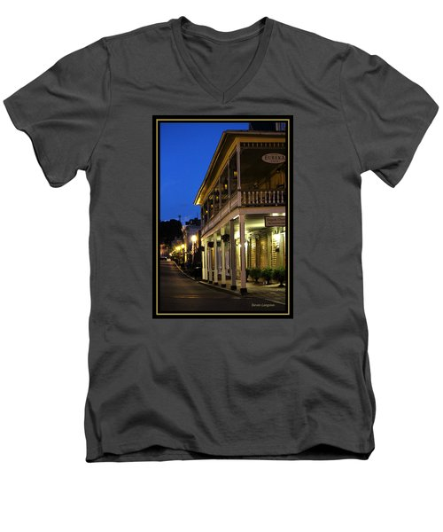 Men's V-Neck T-Shirt featuring the painting Jonesborough Tennessee 12 by Steven Lebron Langston