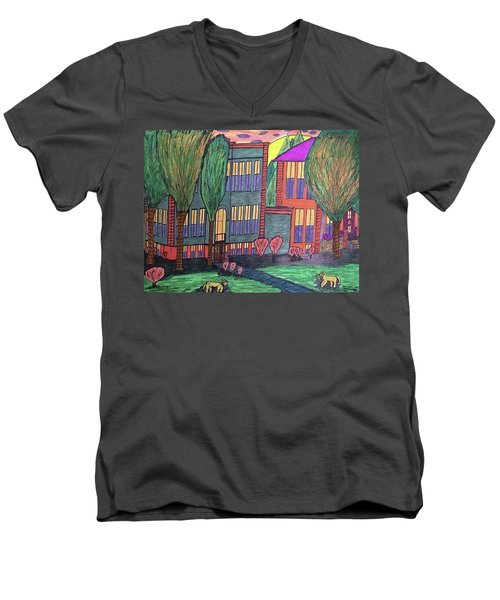 Jordan College West Drive Menominee Men's V-Neck T-Shirt by Jonathon Hansen