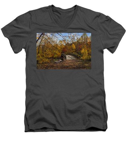 Jordan Park Bridge Men's V-Neck T-Shirt by Judy Johnson