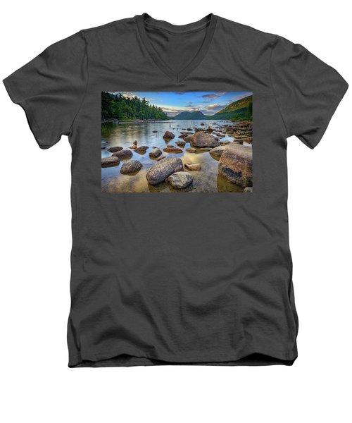 Jordan Pond And The Bubbles Men's V-Neck T-Shirt by Rick Berk