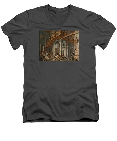 Men's V-Neck T-Shirt featuring the painting Joseph Interprets The Dreams Of The Pharaoh's Servants Whilts In Jail by Alessandro Magnasco