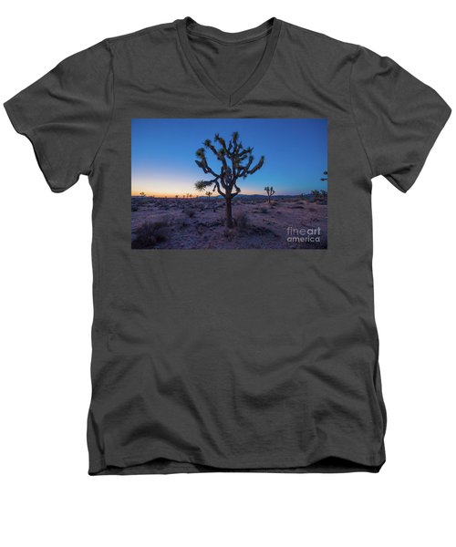 Joshua Tree Glow Men's V-Neck T-Shirt by Robert Loe