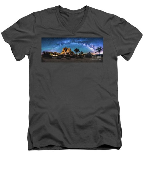 Joshua Tree Milkyway Men's V-Neck T-Shirt by Robert Loe