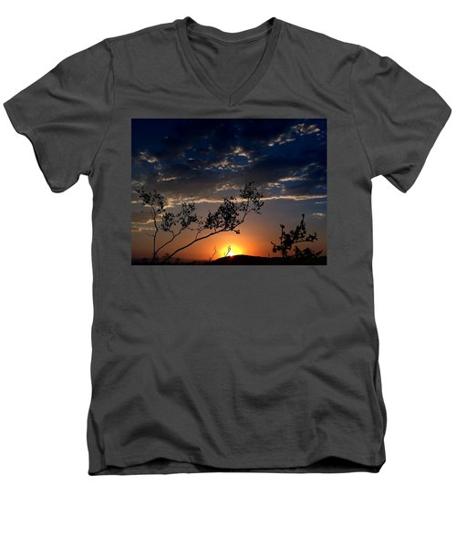 Joshua Tree Sunset Men's V-Neck T-Shirt by Chris Tarpening