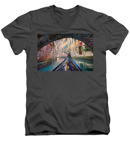Journey Through Dreams - A Ride On The Canals Of Venice, Italy Men's V-Neck T-Shirt