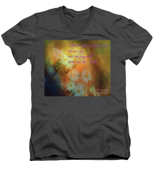 Men's V-Neck T-Shirt featuring the mixed media Joy by Jim  Hatch