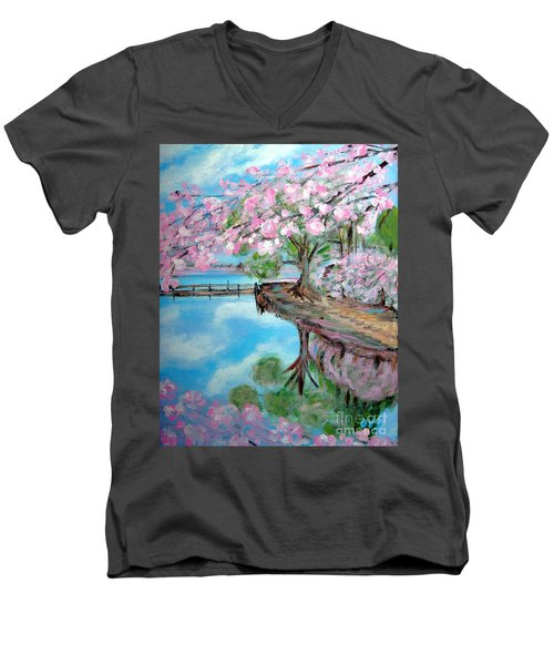 Joy Of Spring. Acrylic Painting For Sale Men's V-Neck T-Shirt
