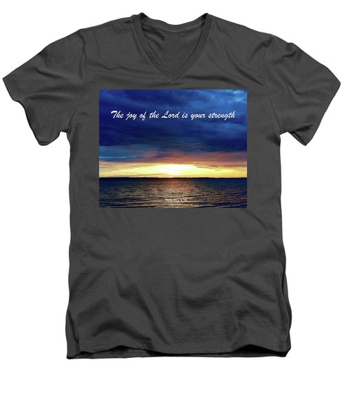 Joy Of The Lord Men's V-Neck T-Shirt by Russell Keating