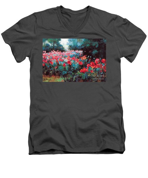 Men's V-Neck T-Shirt featuring the painting Joy by Rosario Piazza
