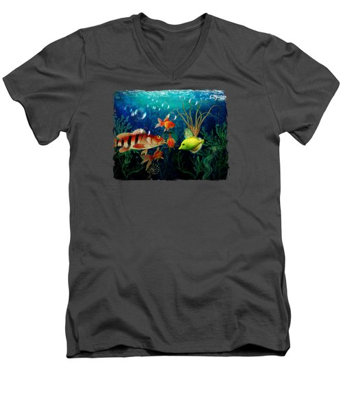 Joy To The Fishes  Men's V-Neck T-Shirt by Terry Fleckney