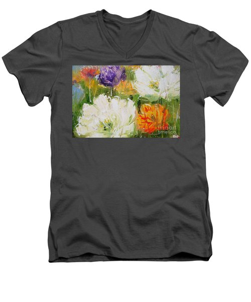 Joy With Tulips Men's V-Neck T-Shirt