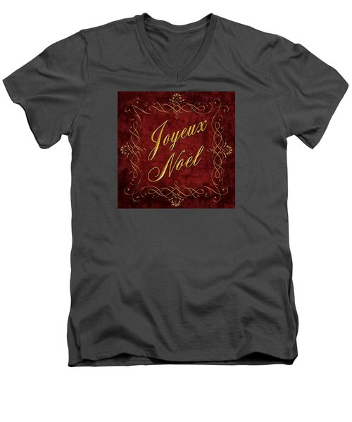 Men's V-Neck T-Shirt featuring the digital art Joyeux Noel In Red And Gold by Caitlyn  Grasso