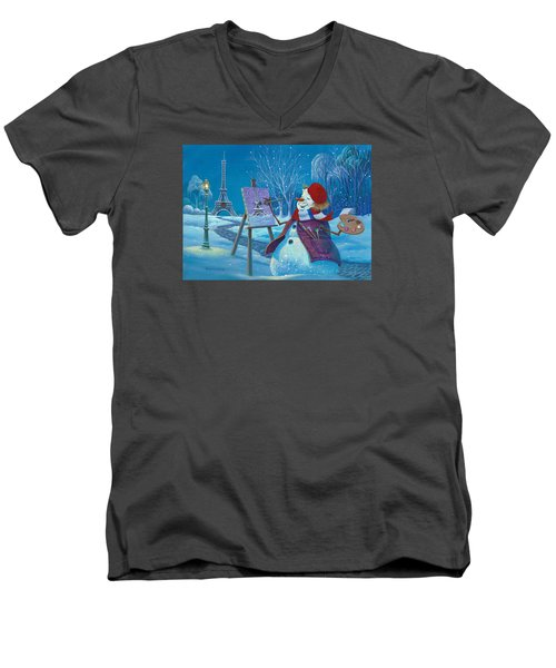 Men's V-Neck T-Shirt featuring the painting Joyeux Noel by Michael Humphries