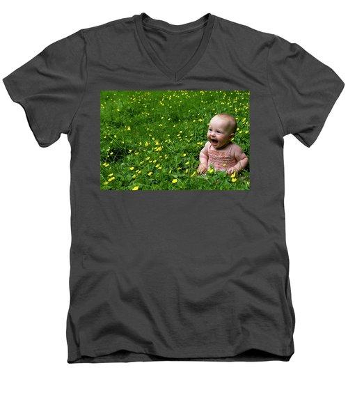 Joyful Baby In Flowers Men's V-Neck T-Shirt