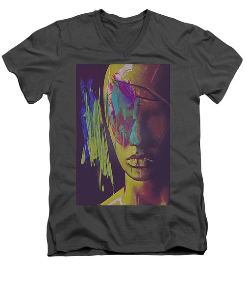 Men's V-Neck T-Shirt featuring the digital art Judgement Figurative Abstract by Galen Valle