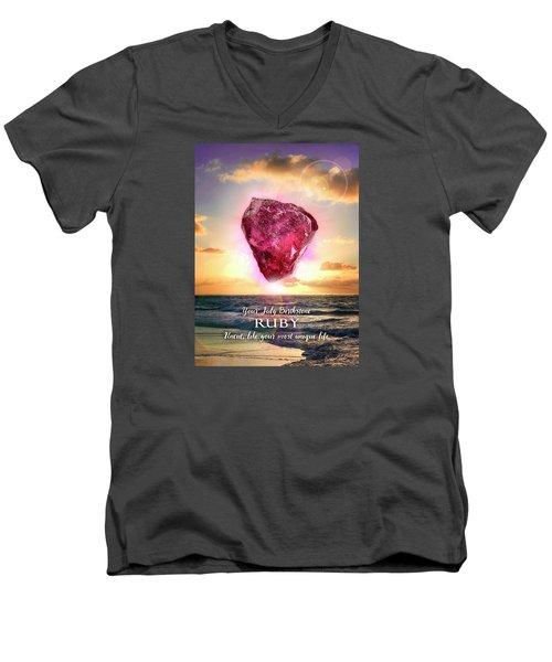 July Birthstone Ruby Men's V-Neck T-Shirt