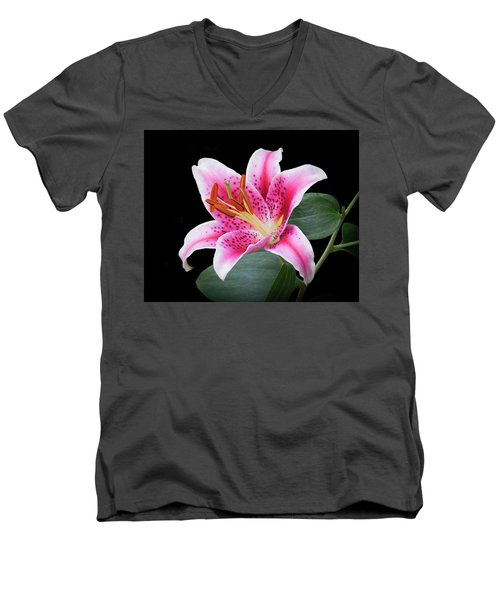 July Stargazer Lily Men's V-Neck T-Shirt