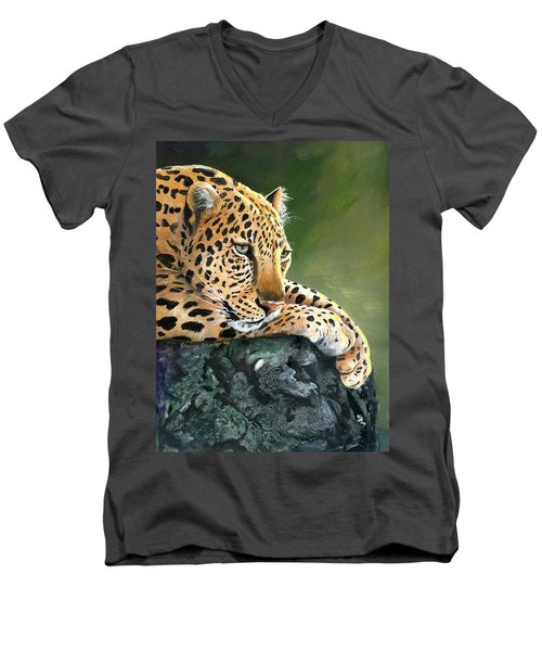 Men's V-Neck T-Shirt featuring the painting Jumanji by Sherry Shipley