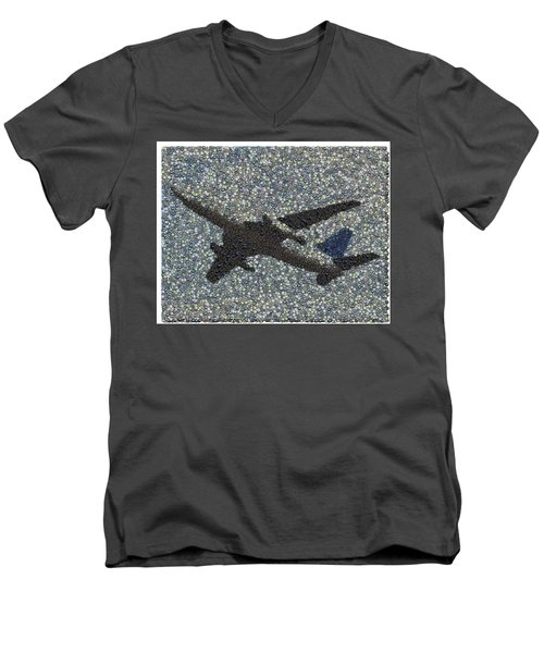 Men's V-Neck T-Shirt featuring the mixed media Jumbo Jet Airplane Made Of Cockpit Panel Dials Mosaic by Paul Van Scott