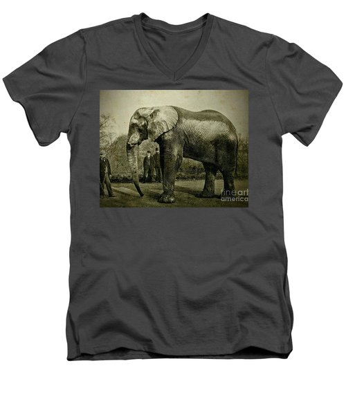 Men's V-Neck T-Shirt featuring the photograph Jumbo The Elepant Circa 1890 by Peter Gumaer Ogden